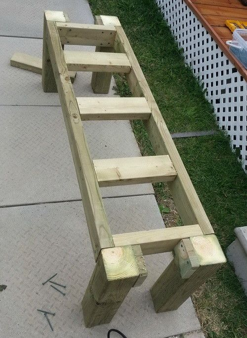 Our patio bench is coming together as the legs and the sitting assembly have been securely attached