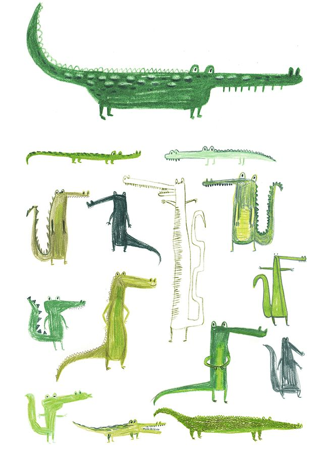 Crocodiles by Erica Salcedo. Theres just something inherently amusing about a cartoony crocodile -- a Peter Pan side effect, perhaps?