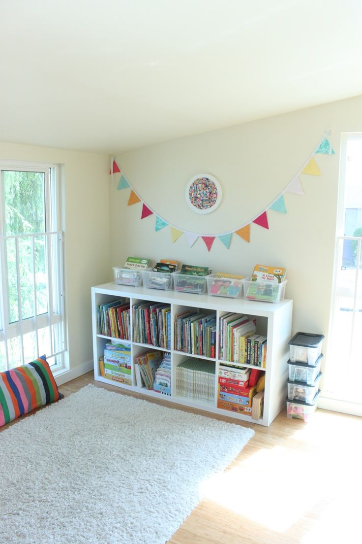 Furniture Playroom Decor For Children Equipped With Storage Boxes With A  Modern Design That Added Color And White Wood Window Combined  Considerations While ...