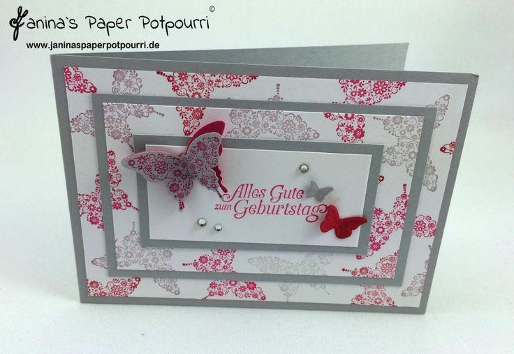 jpp - 3 Layer Birthday Card / 3 Lagen Technik / Geburtstag Karte / Stampin' Up! Berlin / Papillon Potpourri / Hoch hinaus / eleganter Schmetterling www.janinaspaperpotpourri.de