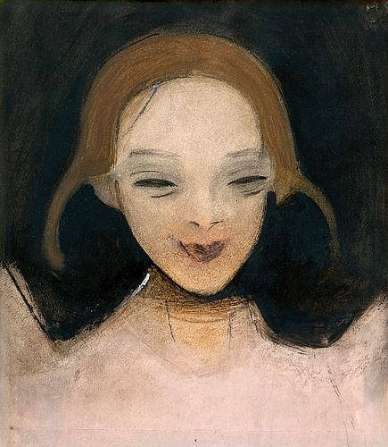 "HELENE SCHJERFBECK, ""SMILING GIRL"". Sign. 1921. Oil and mixed media on paper, 32x27,5 cm."