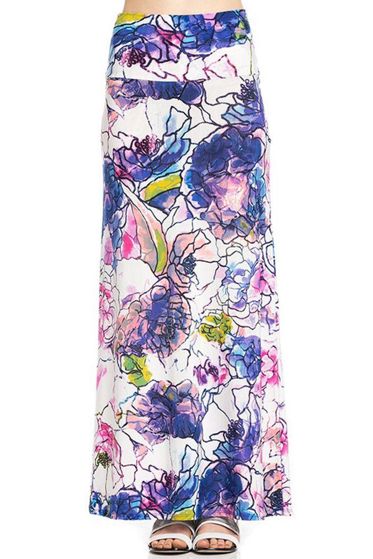Violet Mosaic Floral Printed Maxi Skirt