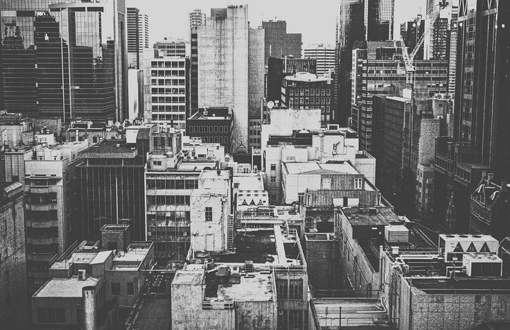 Melbourne city skyline in black and white