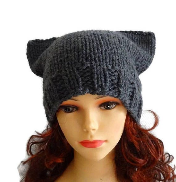 gray pussyhat Chunky beanie Knit hat Animals Hat cat ears hat