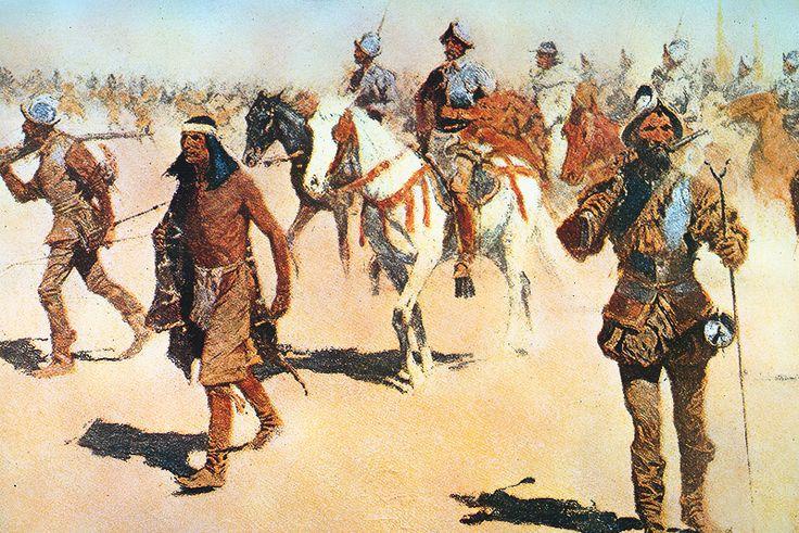 Francisco Vázquez de Coronado, at right, searches for the legendary Seven Cities of Gold