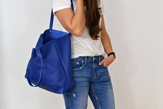 LEATHER TOTE Bag Royal Blue Large Tote Bag Royal Blue