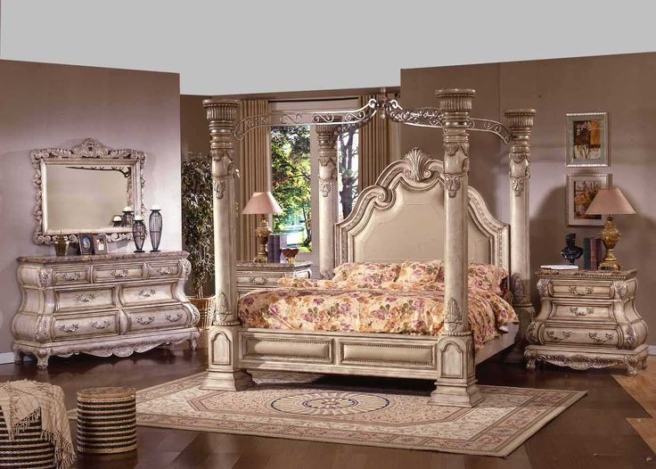 The New Opera Traditional Four Post White Wash Wood King and Queen Bedroom Furniture Set