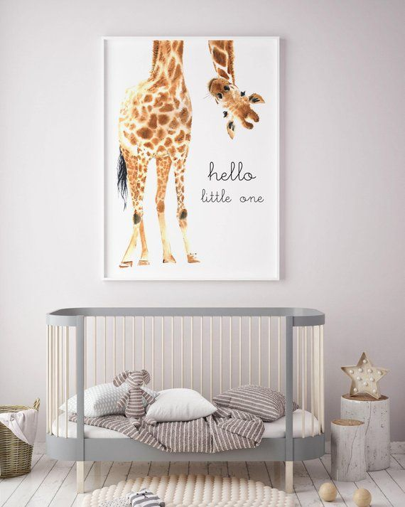 Giraffe Print | Giraffe Art | Giraffe Animal nursery decor | Nursery wall art | Hello Little One | Nursery safari prints | Gender Neutral