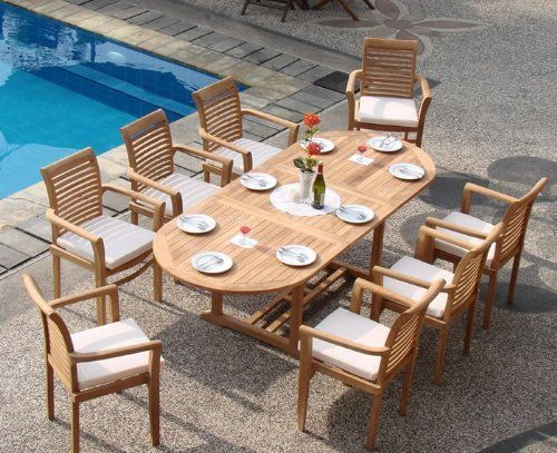 """New 9 Pc Luxurious Grade-A Teak Dining Set - 94"""" Oval Table And 8 Stacking Arm Chairs [Model:MS2] by WholesaleTeak. $1499.99. Oval Table Dimension: 71"""" L (without extension) and 94"""" L (with extension), 40"""" W , 29.5"""" H. ADD SUNBRELLA FABRIC CUSHIONS BY SEARCHING """"Wholesaleteak Dining Cushion"""" ON AMAZON, CUSTOM MADE FOR THESE STYLE CHAIRS. You can lengthen the table with minimal effort by simply opening the butterfly leaf extensions.. Chair Dimension: 24 1/2"""" Width x 19..."""