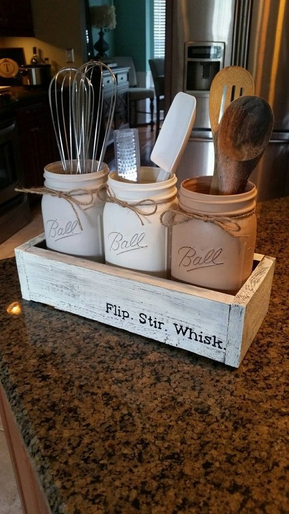 Delightful Rustic Kitchen Decor   Mason Jar Utensil Holder   Mason Jar Kitchen Decor    Rustic Farmhouse Kitchen Decor   Rustic Mason Jar Kitchen Decor By ...