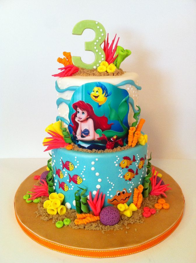 Cake I did for a friend's little girl who love The Little Mermaid.  Ariel and friends are made from edible image.  All coral made from fondant, and #3 made from chocolate and a mold.