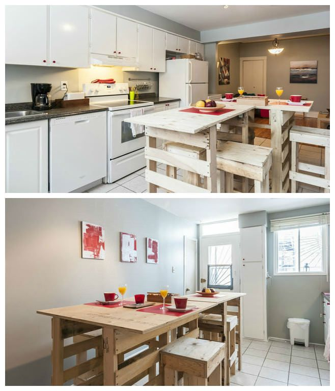 #KitchenIsland, #RecycledPallet This kitchen island is an assembly of upcycled euro pallets and plywood.   Assemblage de palettes euros et panneaux de contreplaqué.