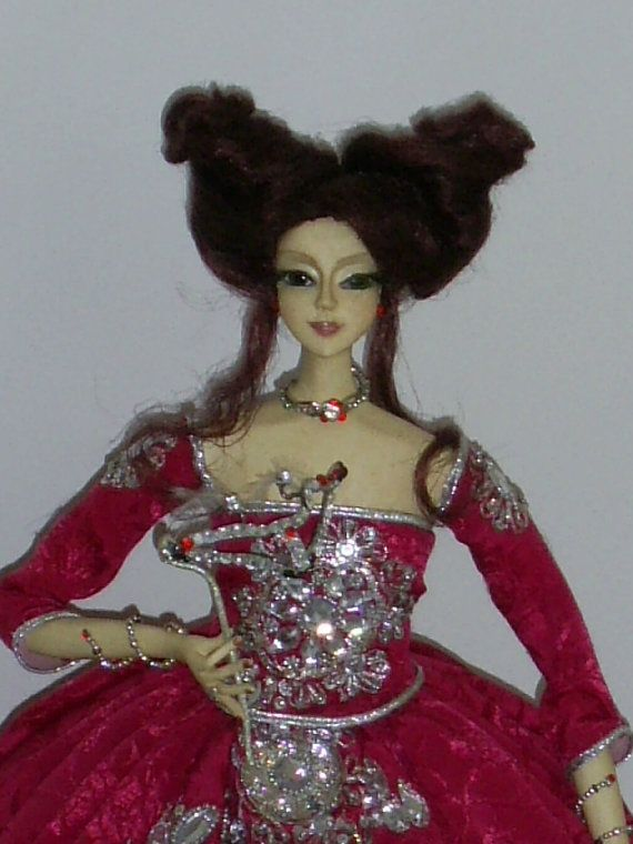 OOAK  Art doll The Masquerade porcelaine clay by ArtDollClayDecor