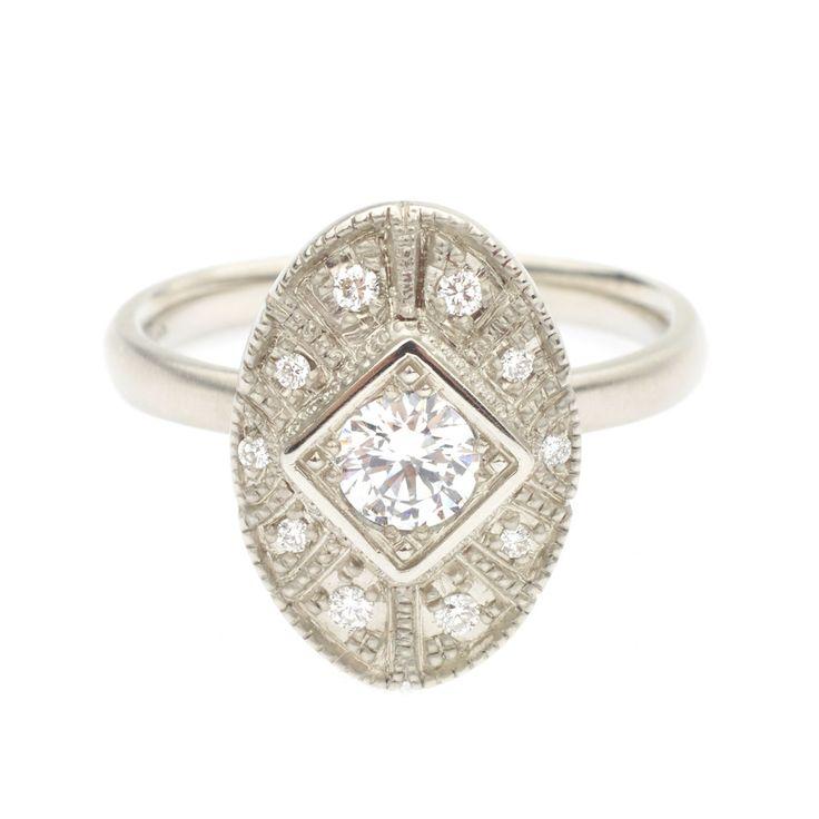 Claudette Engagement Ring #engagementring #vintagering #alternativebridal #diamondring #annesportun #preciouseveryday #vintagebridal