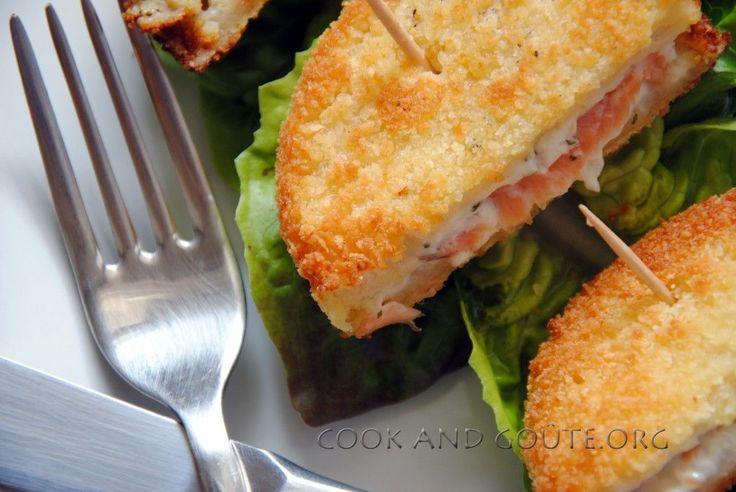 Minis croques panés au saumon et fromage frais