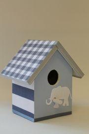Vogelhuis voor de kinderkamer, ook mogelijk met lampje en of muziekdoosje grijs en licht blauw met olifantje Birdhouse for nursery with music box or lamp
