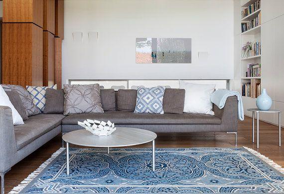 Beau tapis Mandala, couvertures de secteur forte tapis turquoise ainsi de bleu royal, grand 3 x 5 (également disponibles en 4 x 6 et un tapis 5 X 8) en