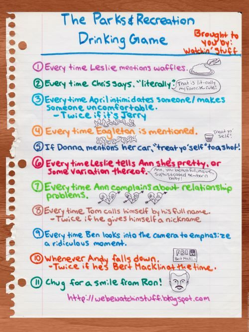 Parks And Rec Season  Drinking Game