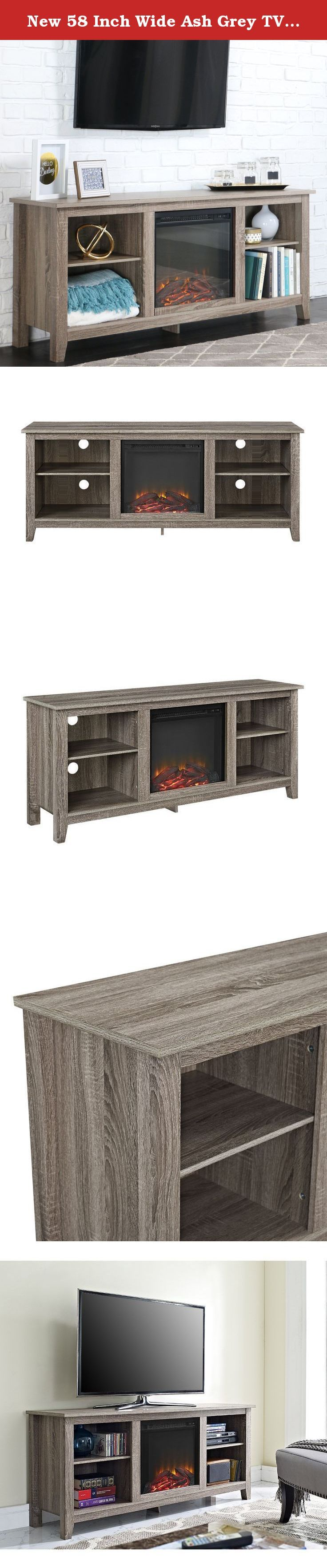 New 58 Inch Wide Ash Grey TV Stand with Fireplace Insert. Create a warm, entertaining space in any room of your home with this media stand with electric fireplace. Crafted from high-grade MDF with a durable laminate finish to accommodate most flat panel TVs up to 60 inches. Features adjustable shelving to fit your components and a cable management system. Installation requires no technician, simply plug into standard household outlet and no venting required.