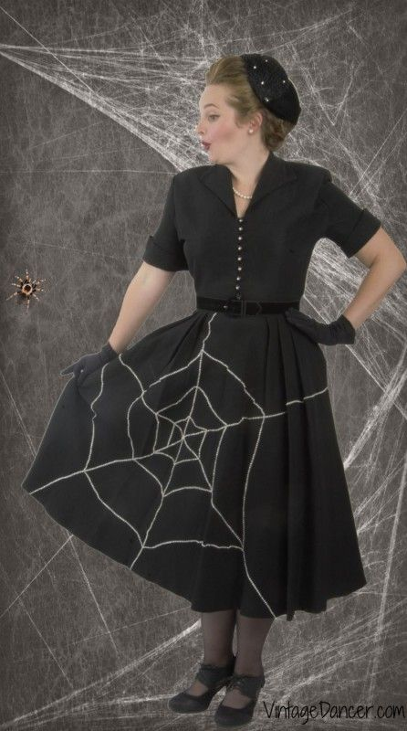 1950s spider web vintage Halloween Costume. A classic retro DIY dress of skirt with a spider web design. So fun! See the details and more retro costume idea at VintageDancer.com