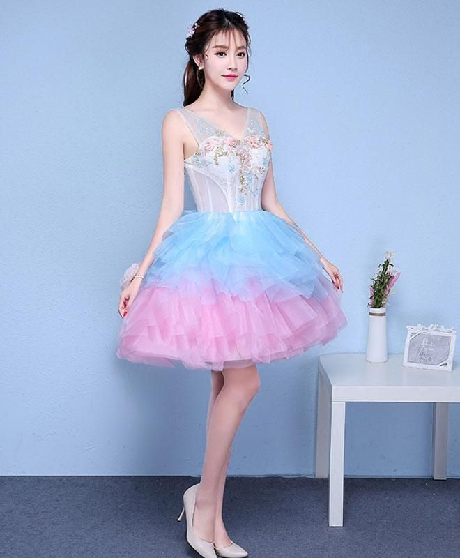 b217ae70d71 Cute v neck blue and pink short prom dress
