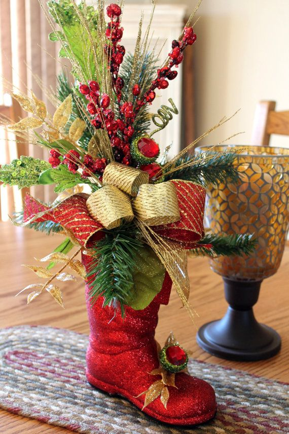 Christmas Centerpiece Glittery Red Christmas by FloralsFromHome, $72.00