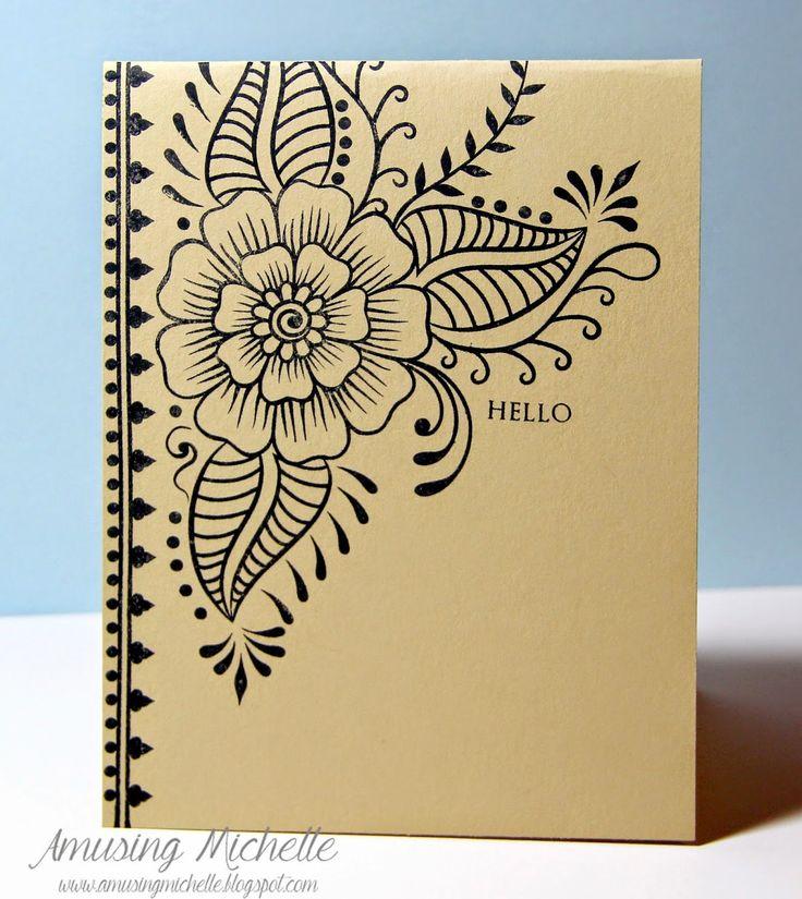 Amusing Michelle: Black & PTI Fine Linen CAS flower card (Altenew Hennah Elements stamp set)