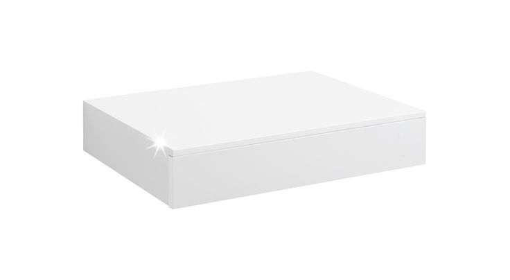 CASSETO Wandregal mit Schublade | 450x250x80 mm | weiß hochglanz