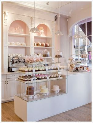 If I owned a dream bakery, it would look like this inside. (From Daisy Pink Cupcake blog. This is a view of Parlour, Peggy Porschen's cake shop in London.)