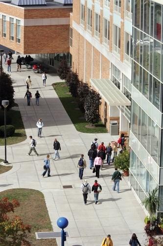 Students head inside to BGSU's Bowen-Thompson Student Union.