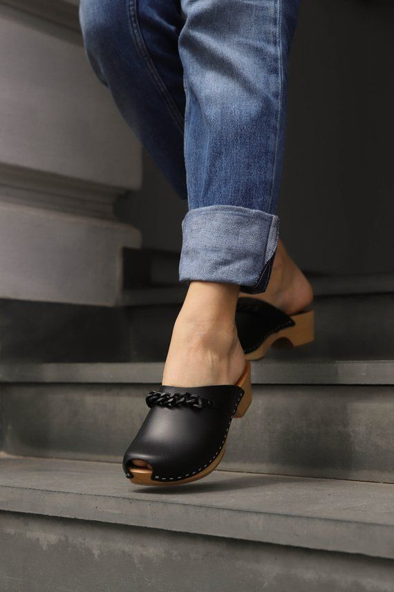 Wooden clogs, Leather clogs