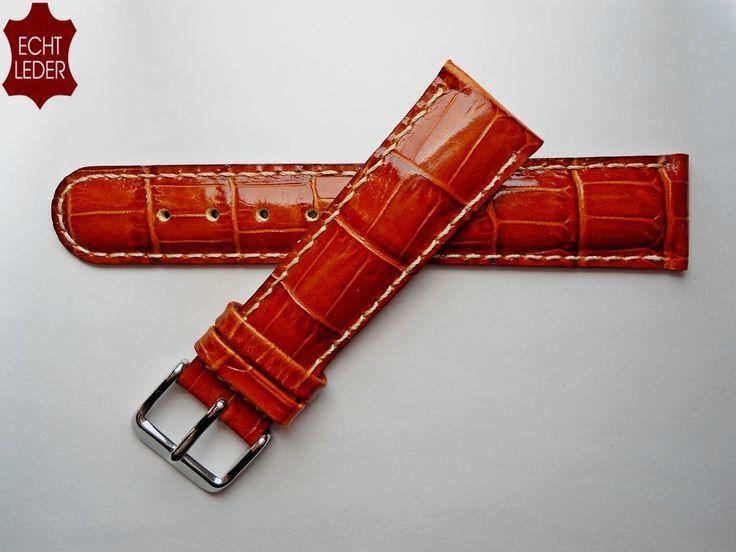 Uhrenarmband Echt Leder Armband Watch Strap Leather kroko-prägung 20 mm