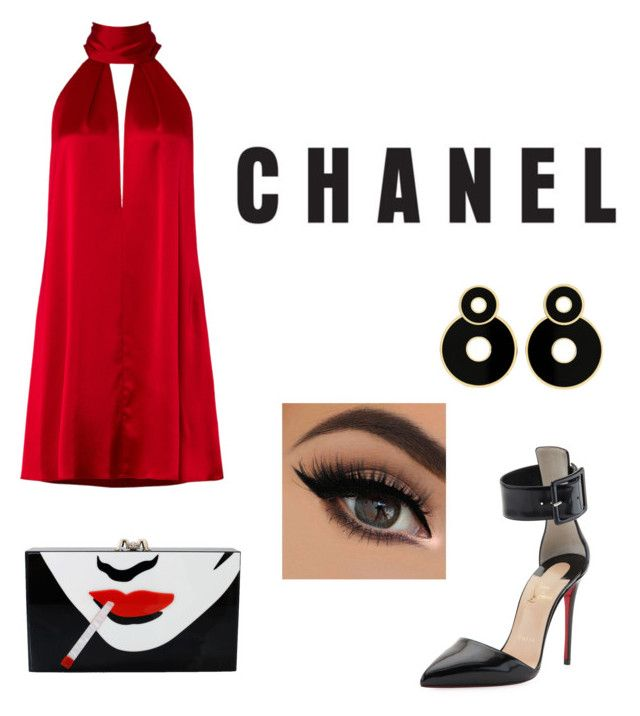 """Untitled #48"" by mariastoica on Polyvore featuring Galvan, Christian Louboutin and Charlotte Olympia"