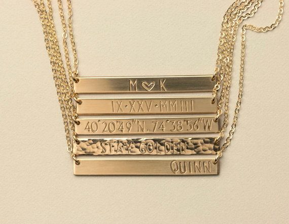 Perfect Bar Necklace Personalized examples: from Layered and Long