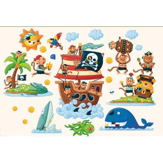 Muurstickers piraten eiland. Set van 22 decoratie muurstickers in piraten thema. Het vel waar alle stickers op zitten is ongeveer 58 x 87 cm groot.