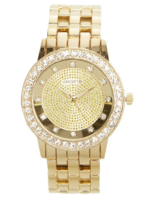 Rhinestone Dial Metal Watch