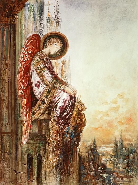 """Angel Traveller"" (19th Century), By Gustave Moreau (1826–1898), Watercolor, Musee Gustave Moreau, Paris, France. #angels"