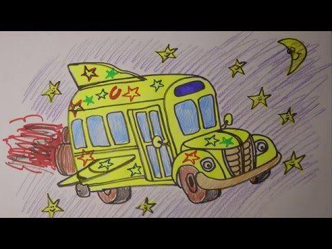 How to Draw Magic School Bus Easy  Fast  Mr Cute Cartoon
