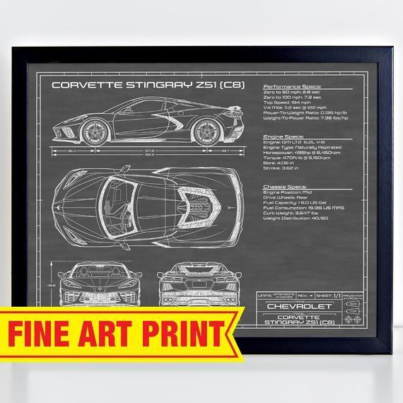 Chevrolet Corvette C8 Stingray Z51 2020 2021 Car Art Blueprint Wall Art Chevy Cars Patent Poster Print Gift For Men Boyfriend Him Car Art Chevrolet Corvette Corvette