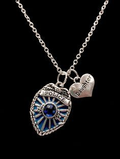 Police Daughter Police Officer Badge Shield, Gift For Police Daughter Charm Necklace