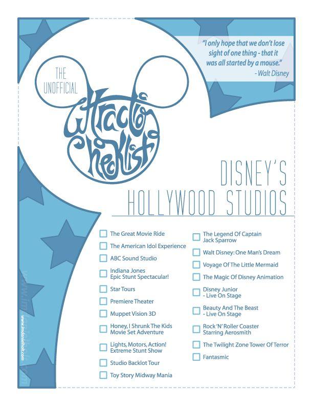 Unofficial checklist for Walt Disney World's Hollywood Studios. X