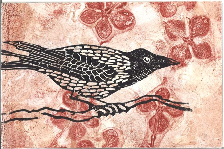 crow card linoprint/gelliprint original by marmoss on Etsy