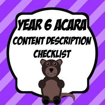 Year 6 ACARA Content Description Checklists