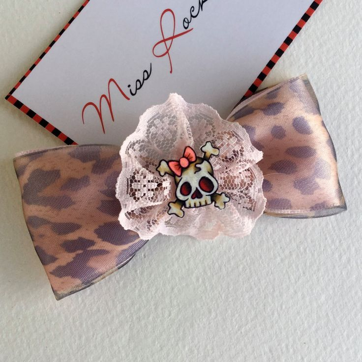 Skull Hair Clip Rockabilly Hair Accessories Leopard Print Pink by missrockabilly on Etsy