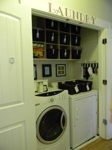 Love the lost sock board- having a step stool on the dryer-- and the idea of the smallish baskets to put the kids' laundry in for them to take upstairs.  Another shelf or two and I could do that!