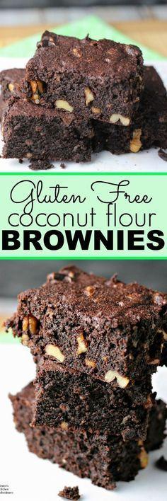Coconut Flour Brownies | by Renee's Kitchen Adventures - gluten free, grain free, dairy free healthy recipe for brownies