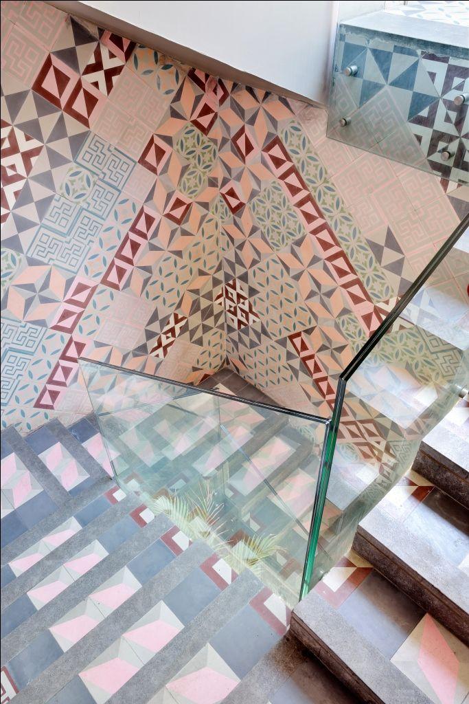 Encautic tile staircase @ Pottery Cafe in Tivoli Heliopolis - Cairo - Egypt - designed by Eklego