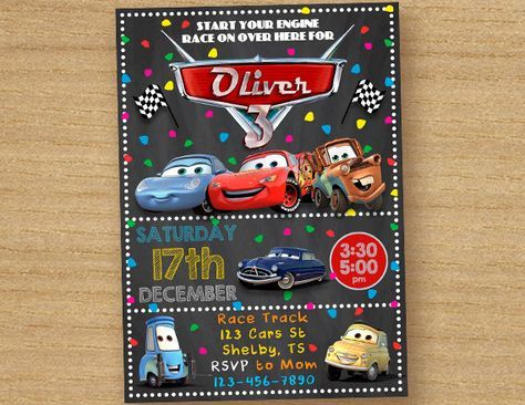 Cars Birthday Invite, Disney Cars Invitation, Chalkboard Custom Birthday Invitation, Cars Party Invites, Cars Lightening McQueen Invitation by DinoParty on Etsy https://www.etsy.com/listing/492295741/cars-birthday-invite-disney-cars