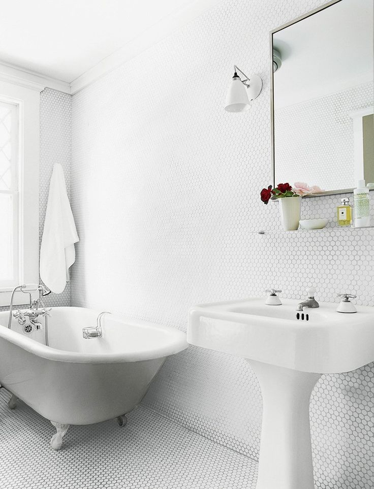 Trend alert penny round tiles rounding bath and for Bathroom inspo