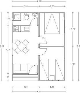 Casa pequeña de madera 2 habitaciones, 1 cuartos de baño completo, cocina, salón comedor.